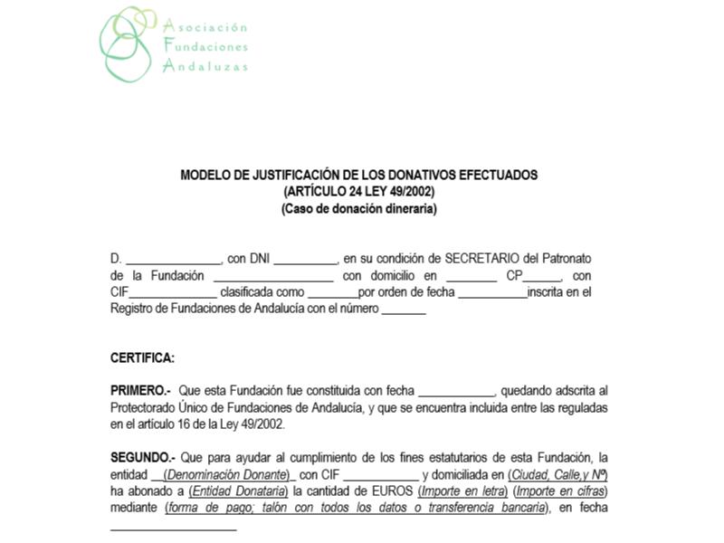 Suficiente Certificado de Donaciones Dinerarias - Asociación de Fundaciones  JX08