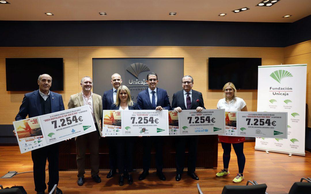 Fundación Unicaja y El Corte Inglés entregan la recaudación obtenida en la Carrera Urbana Ciudad de Málaga a las asociaciones beneficiarias
