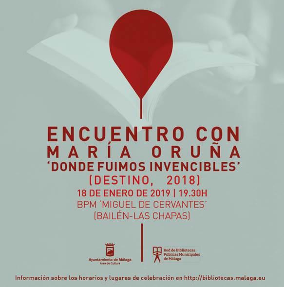 Málaga. V Ciclo 'Encuentros con autores en las bibliotecas municipales de Málaga' con María Oruña