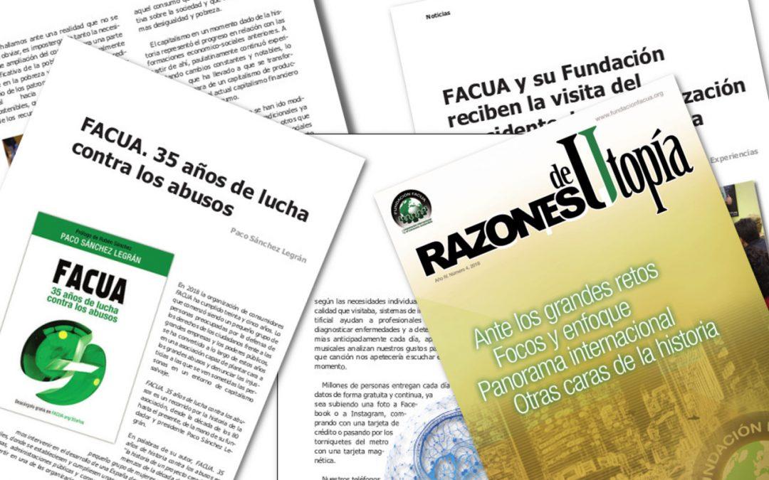 La Fundación FACUA publica el cuarto número de su revista 'Razones de Utopía'