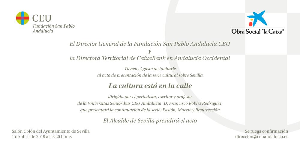 Sevilla. Presentación de la serie «La Cultura está en la Calle»