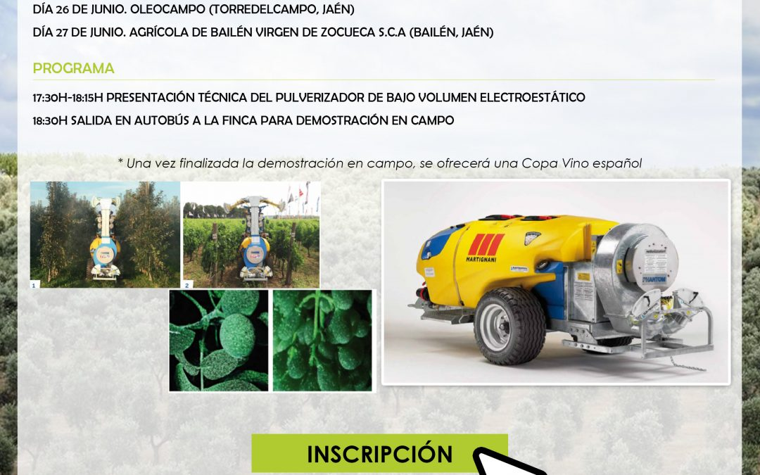 Jaén. Jornadas técnicas demostrativas: Conoce las últimas soluciones inteligentes basadas en electroestática para uso en olivar