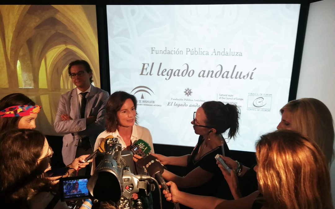 Comparece ante los medios la directora de la Fundación Pública Andaluza El legado andalusí, Concha de Santa Ana, y el Delegado de Cultura y Patrimonio de la Junta de Andalucía, Antonio Granados