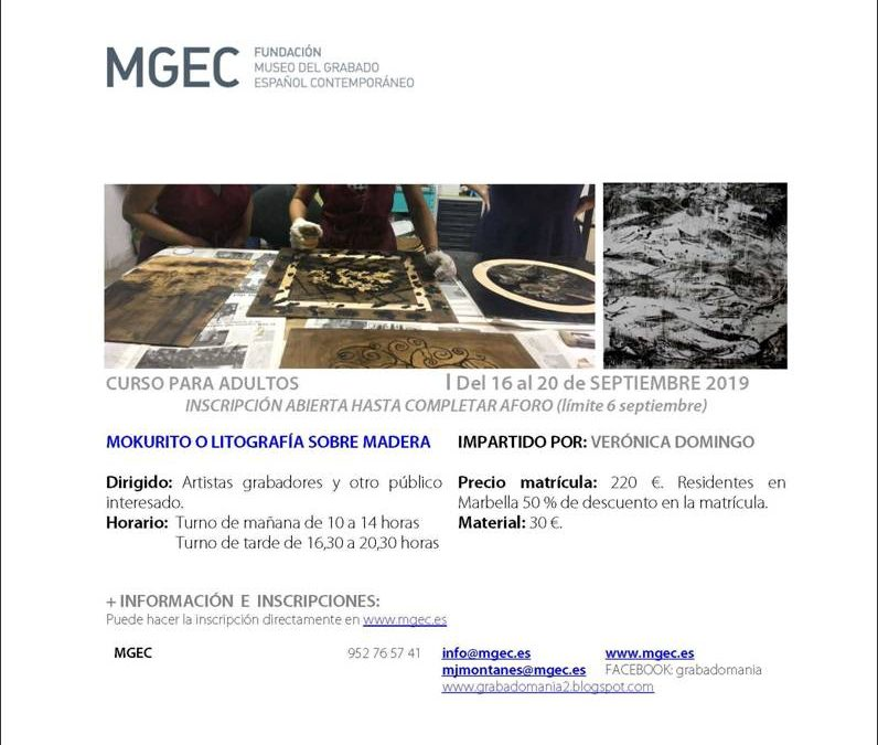 Marbella, Málaga. Curso Mokurito o litografía sobre madera