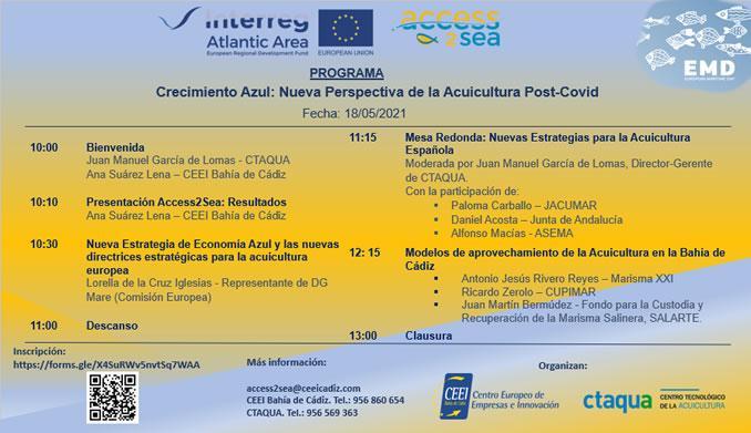 """CTAQUA y CEEI Bahía de Cádiz celebran la Jornada virtual """"CRECIMIENTO AZUL: Nueva Perspectiva de la Acuicultura Post-COVID"""""""