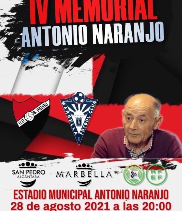 El IV Memorial Antonio Naranjo se celebrará el 28 de agosto  a beneficio de la Fundación Cudeca