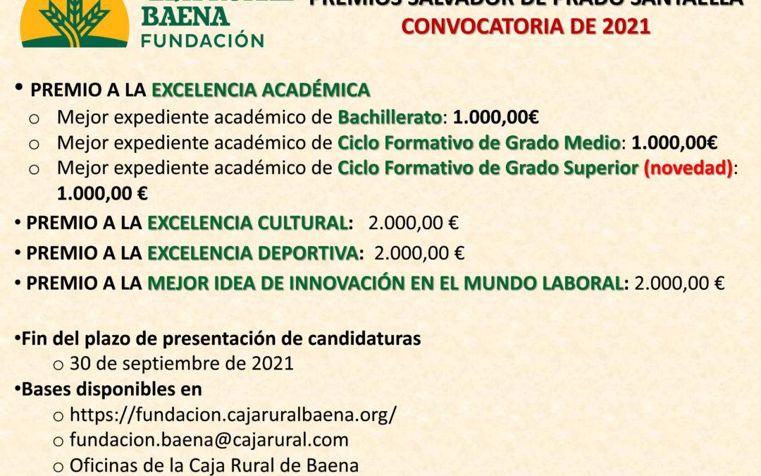 La Fundación Caja Rural de Baena convoca la edición de 2021 de los Premios Salvador de Prado Santaella